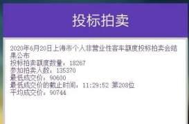 6月沪牌拍卖:个人额度17000辆中标率13.5%