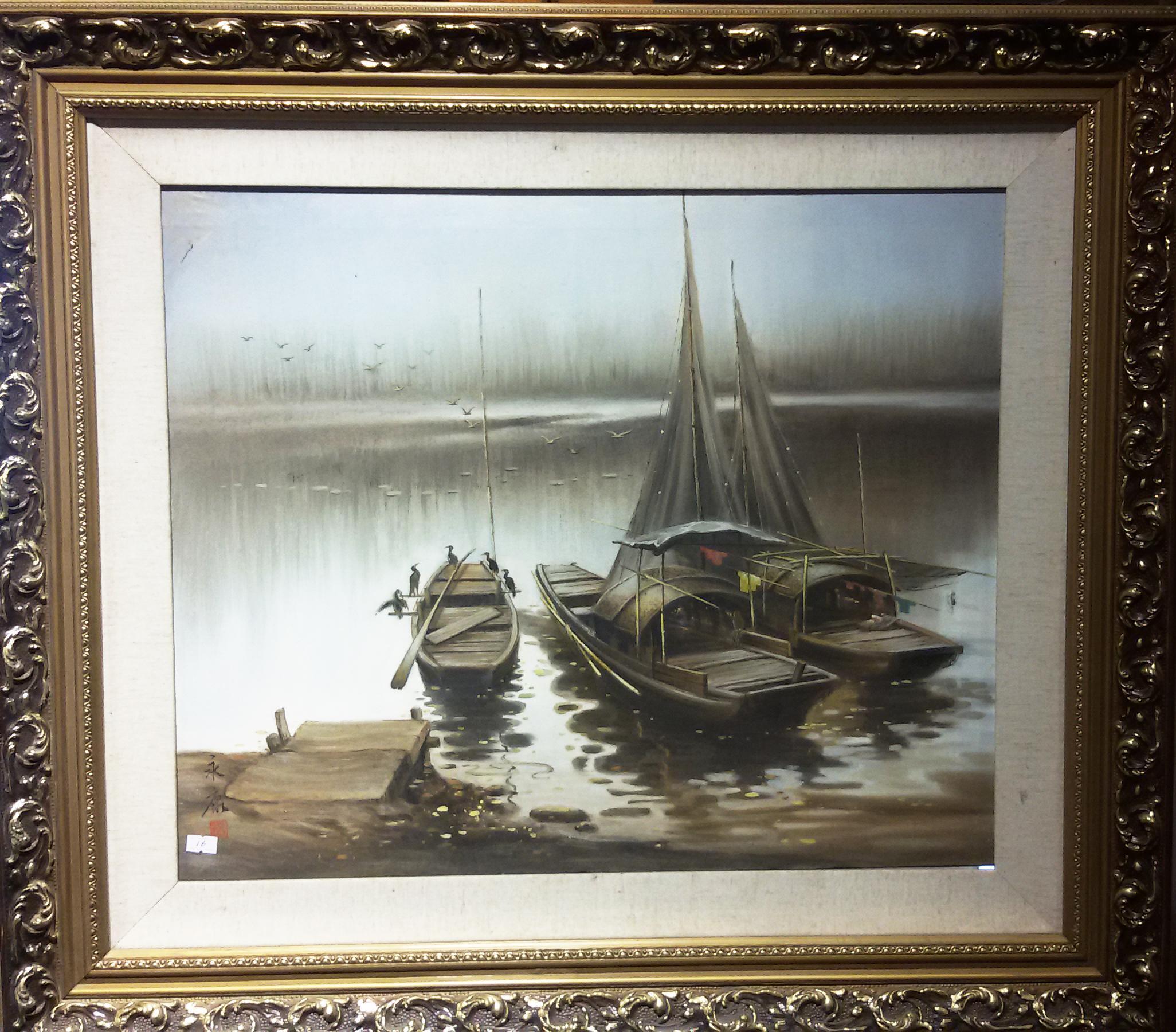 """1983年设计的刺绣油画双面绣稿""""虎丘塔"""""""